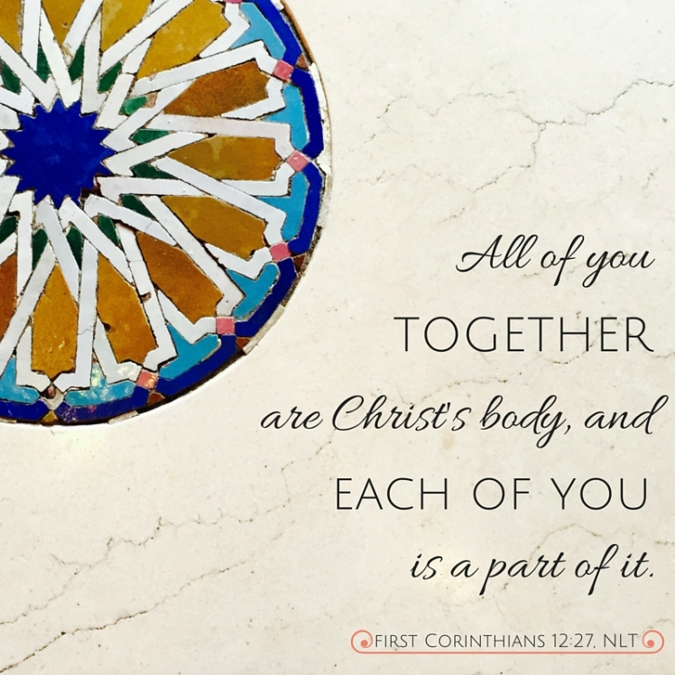 All of you together are Christ's body,and each of you is a part of it.
